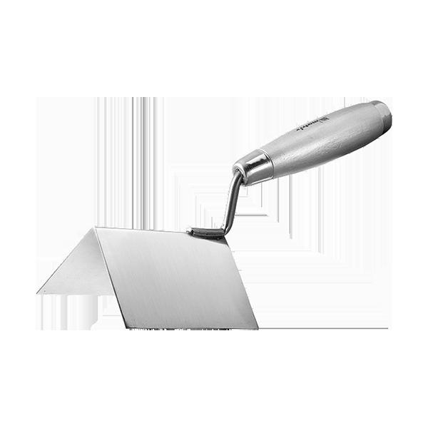 Кельма из нерж.стали, 80х60х60мм, для внешних углов, деревянная ручка,MATRIX